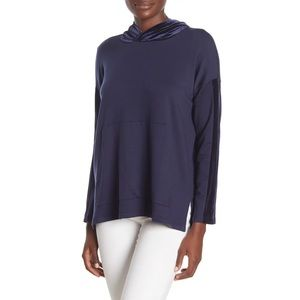 NWT Eileen Fisher Velvet Trim Navy Hoodie Sweater